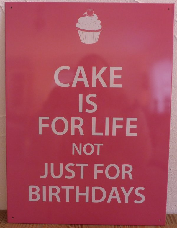 Stalen decoratie bord Cake is for life