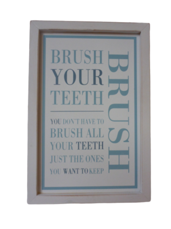 Tekstbord hout Brush your teeth